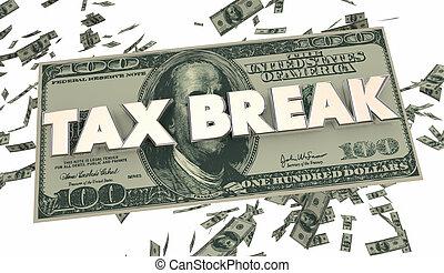 Tax Break Loophole Money Falling 3d Illustration