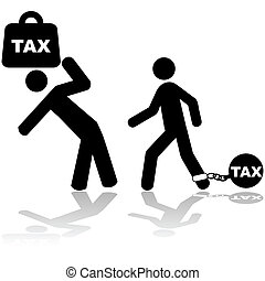 Concept illustration showing a man carrying a weight with the word TAX on it