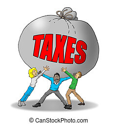 Tax Burden - Image of a group of people being weighed down...