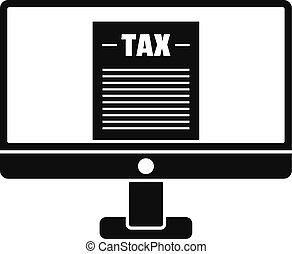 Tax by computer icon, simple style