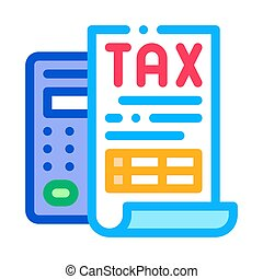 Tax Calculator Icon Vector Outline Illustration