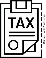 Tax checklist icon, outline style