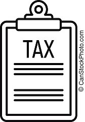 Tax clipboard icon, outline style