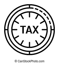 Tax clock icon, outline style