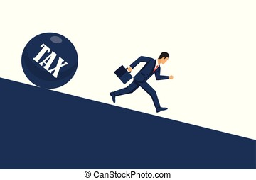 Tax concept. Businessman runs away from tax. Economic depresion, financial crisis, crash financial. Vector illustration in flat style.