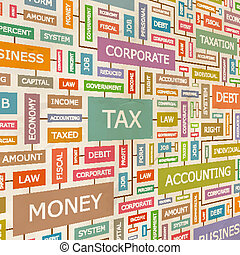 TAX. Concept related words in tag cloud. Conceptual...