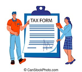 Tax consultation banner with people next to tax form document, cartoon vector illustration.