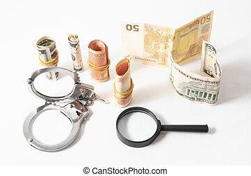 Tax Crime Concept Money and Handcuff
