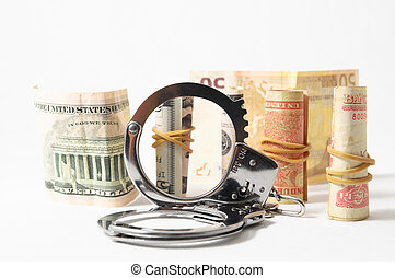 Tax Crime Concept Money and Handcuff