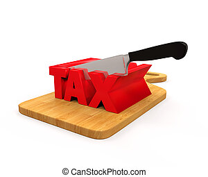 Tax Cut Concept isolated on white background. 3D render