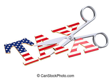Tax cut in USA concept. 3D rendering isolated on white...