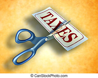 Tax cut - Some scissors are cutting a piece of paper with...