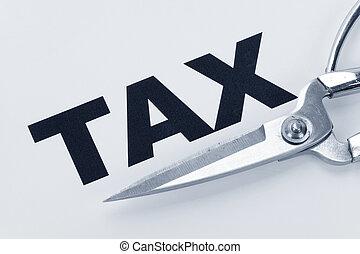 Tax Cut - text of tax and scissors, concept of tax cut