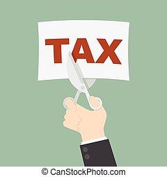 Tax cut - businessman trying to cut tax with scissor