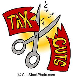 Tax Cuts - An image of a scissors cutting a tax cut paper.