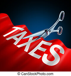 Tax cuts and cut taxes economic and finance concept as a new government bill or legislation law to lower income taxation as a 3D illustration.
