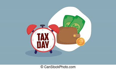 tax day animation with wallet and money
