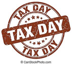 tax day brown grunge round vintage rubber stamp