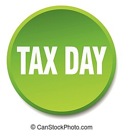 tax day green round flat isolated push button