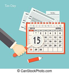 Tax day with human hand keeping the magnifier
