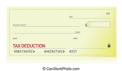 Tax deduction bank check illustration design over white