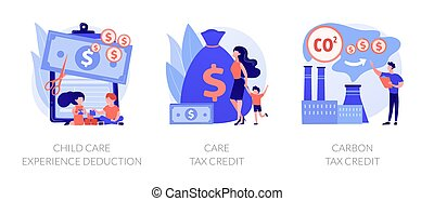 Tax deduction, exemption and credit vector concept metaphors