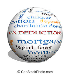 Tax Deductions 3D sphere Word Cloud Concept with great terms such as mortgage, dependents, fees and more.