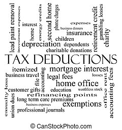 Tax Deductions Word Cloud Concept in black and white with...