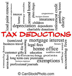 Tax Deductions Word Cloud Concept in red caps with great terms such as mortgage, dependents, fees and more.