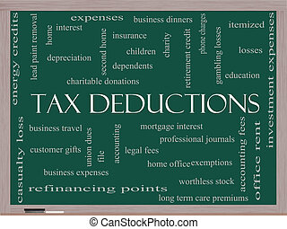 Tax Deductions Word Cloud Concept on a Blackboard with great...