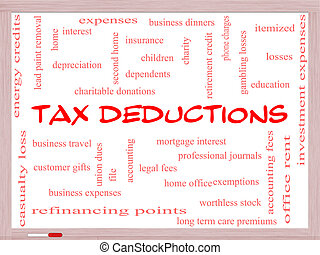 Tax Deductions Word Cloud Concept on a Whiteboard with great terms such as mortgage, dependents, fees and more.