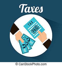 tax design over blue background vector illustration
