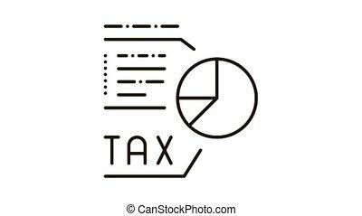 Tax Diagram Icon Animation. black Tax Diagram animated icon on white background