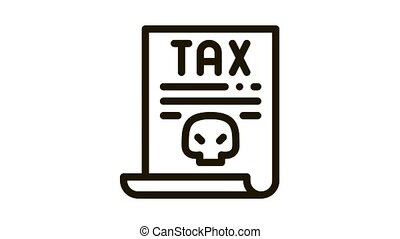 tax document Icon Animation. black tax document animated icon on white background