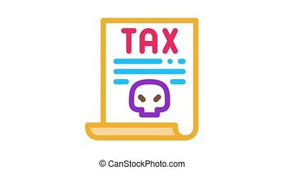 tax document Icon Animation. color tax document animated icon on white background