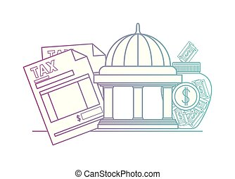 tax document with bank building and money vector...