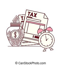 tax document with money and alarm clock vector illustration...