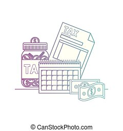 tax document with money and calendar vector illustration...