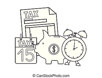 tax document with piggy and calendar vector illustration...