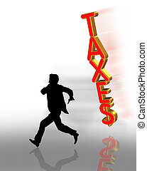 3 Dimensional Tax Evasion Illustration of man running from taxes