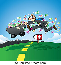 Tax evasion - vector illustration of a cartoon man who is in a hurry and brings his savings to Switzerland in order to pay no taxes in his origin country