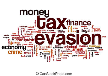 Tax evasion concept word cloud background