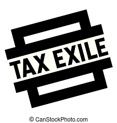 tax exile black stamp, sticker, label, on white background