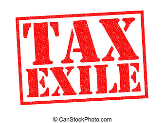 TAX EXILE red Rubber Stamp over a white background.