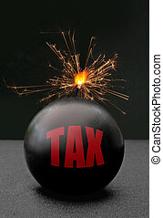 Tax - Exploding bomb labeled tax with burning fuse and...