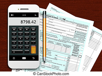 tax form 1040 with phone calculator and pencil on wooden...