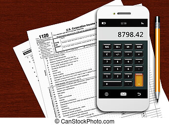 tax form 1120 with phone calculator and pencil on wooden...
