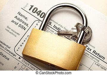 Tax form and key lock