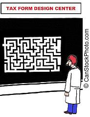 Tax Form Design Center - Cartoon of government worker...