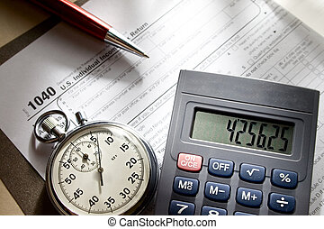 Tax form, stopwatch, calculator and pen